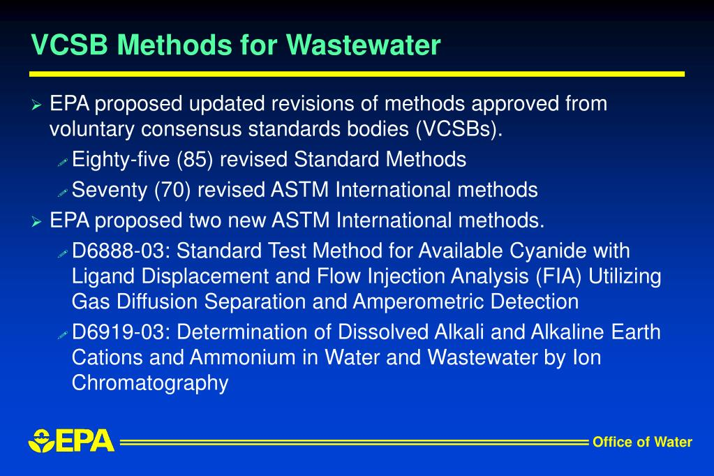 VCSB Methods for Wastewater