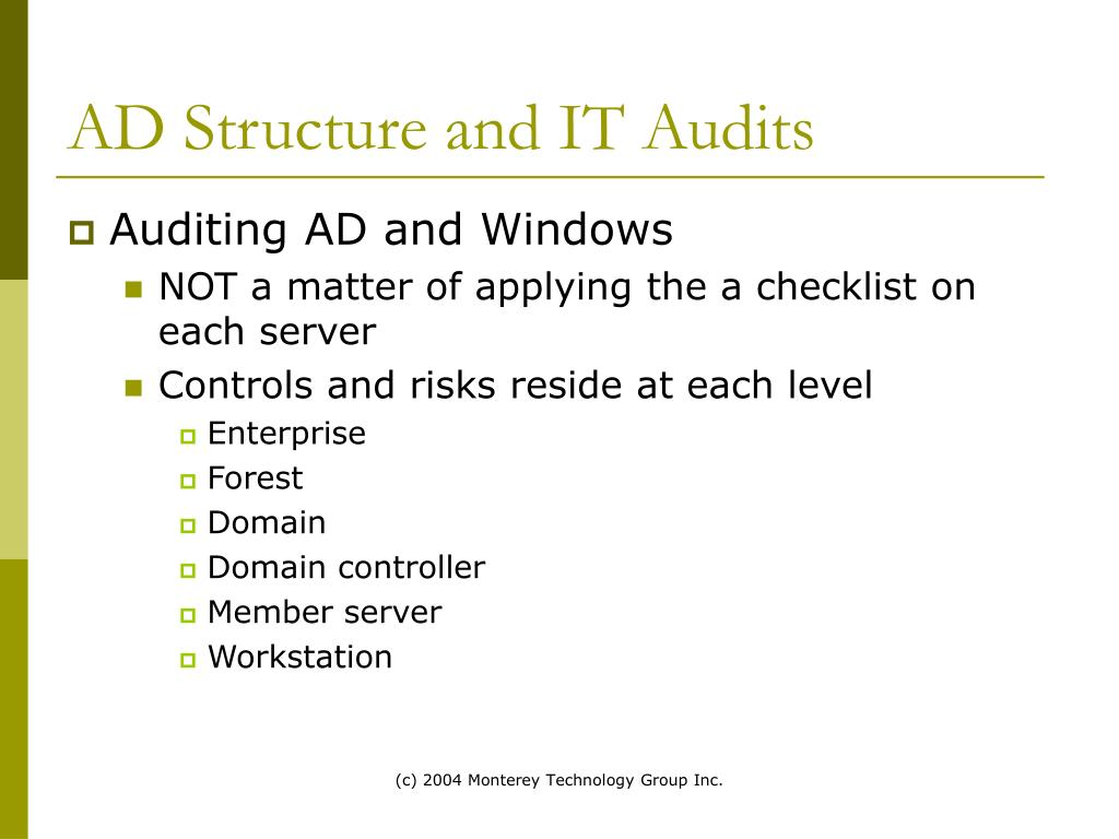 AD Structure and IT Audits