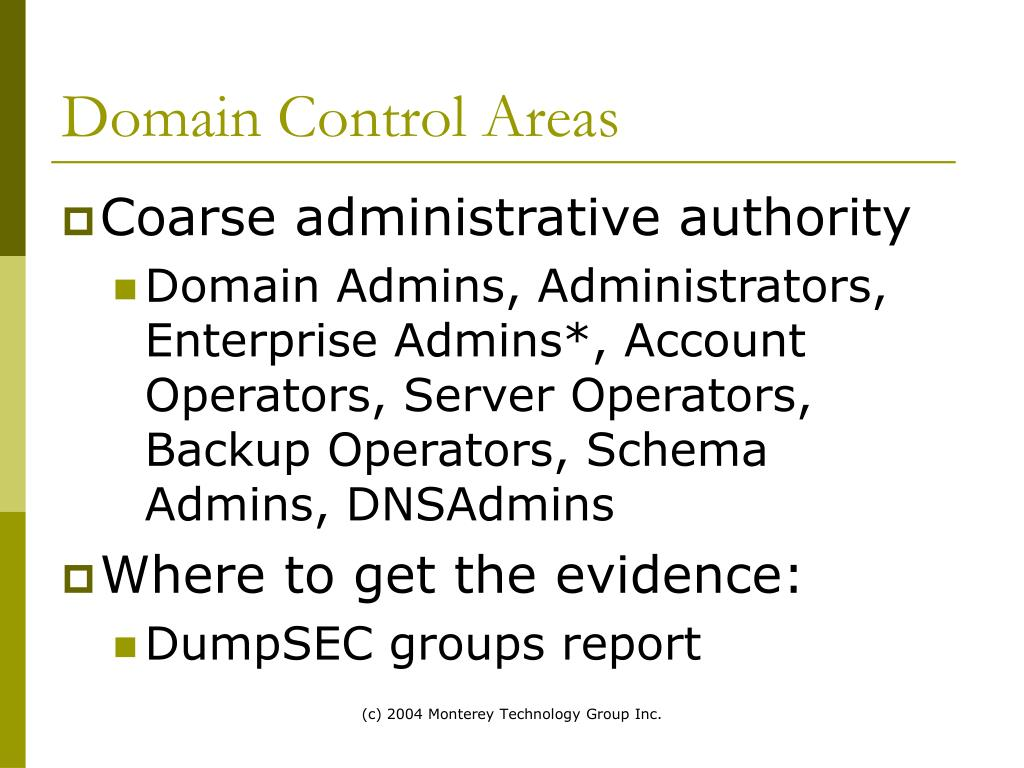 Domain Control Areas