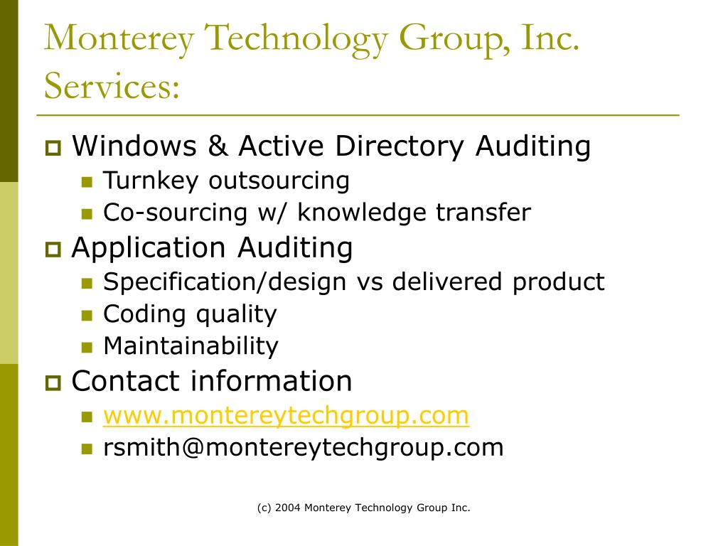 Monterey Technology Group, Inc.