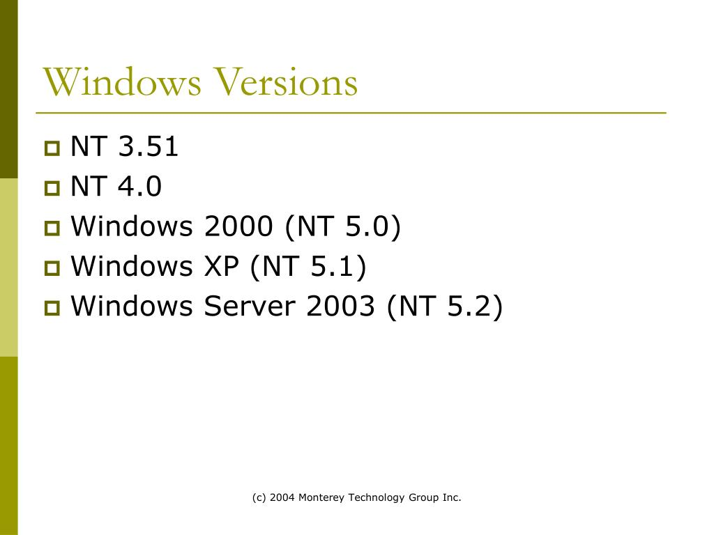 Windows Versions