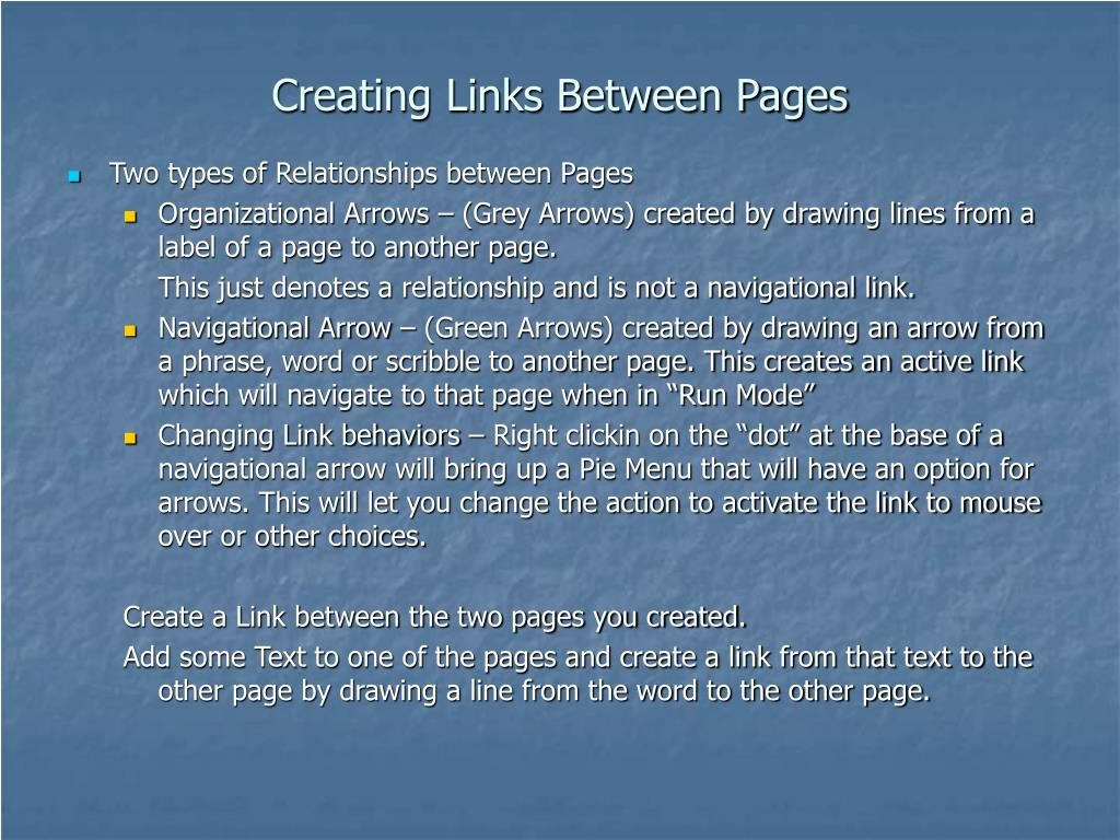 Creating Links Between Pages