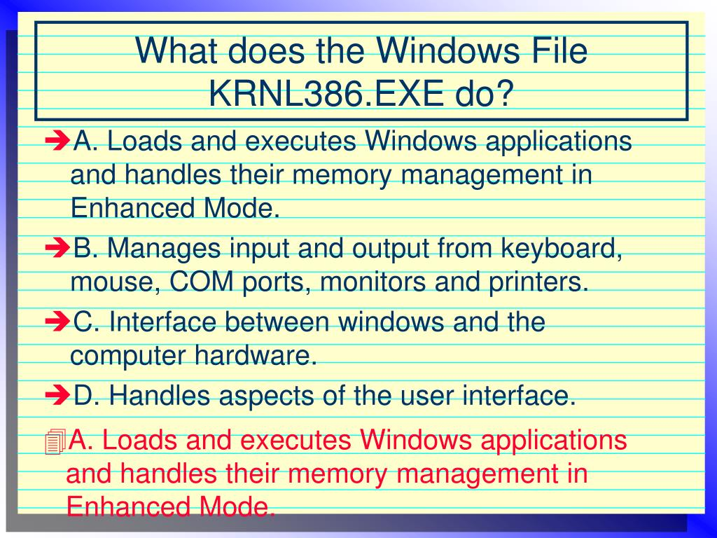 A. Loads and executes Windows applications and handles their memory management in Enhanced Mode.
