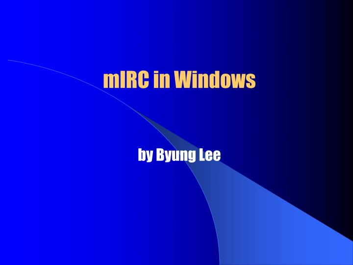 Mirc in windows