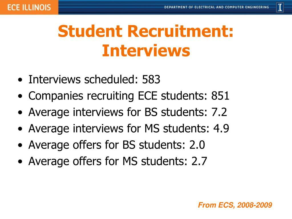 Student Recruitment: Interviews