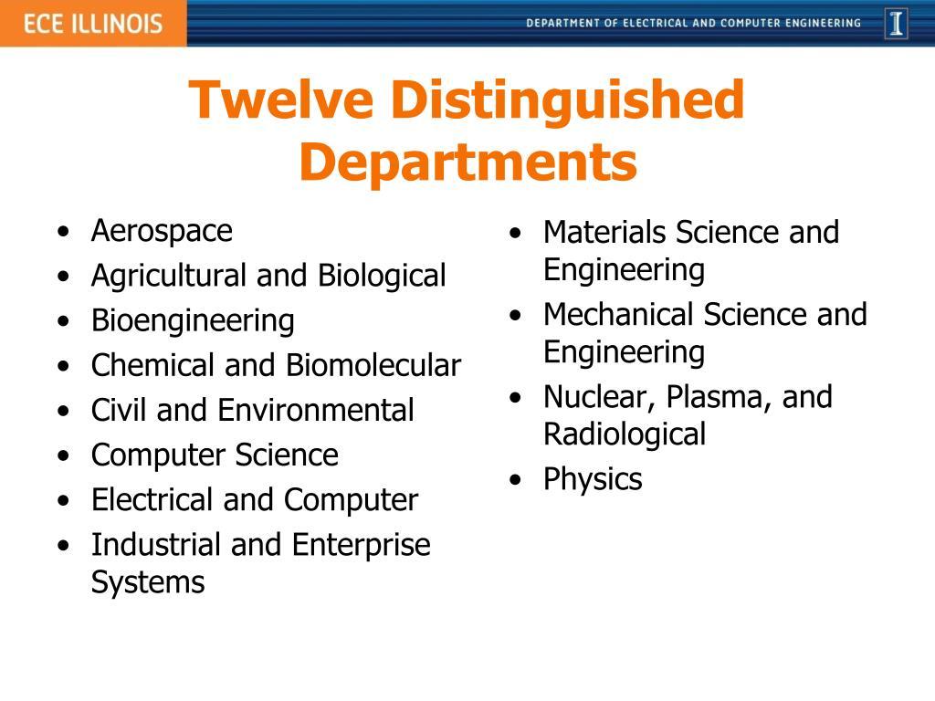 Twelve Distinguished Departments
