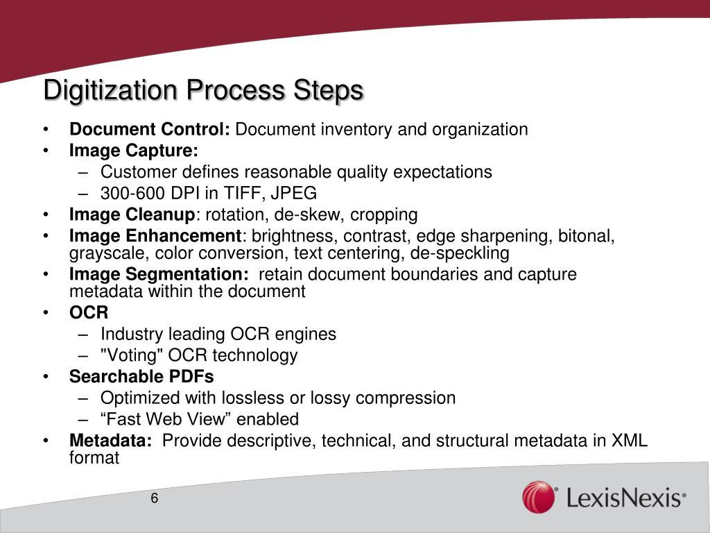 Digitization Process Steps