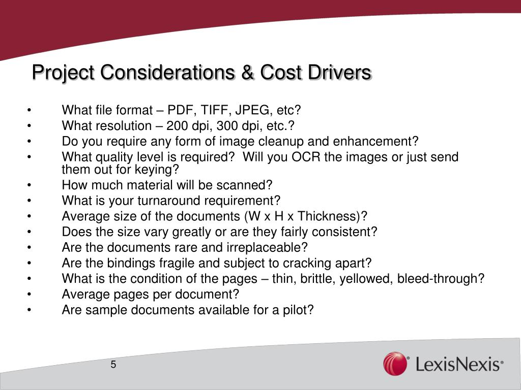 Project Considerations & Cost Drivers