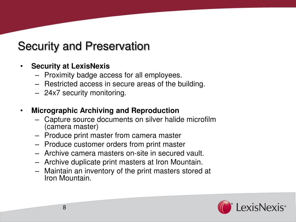 Security and Preservation