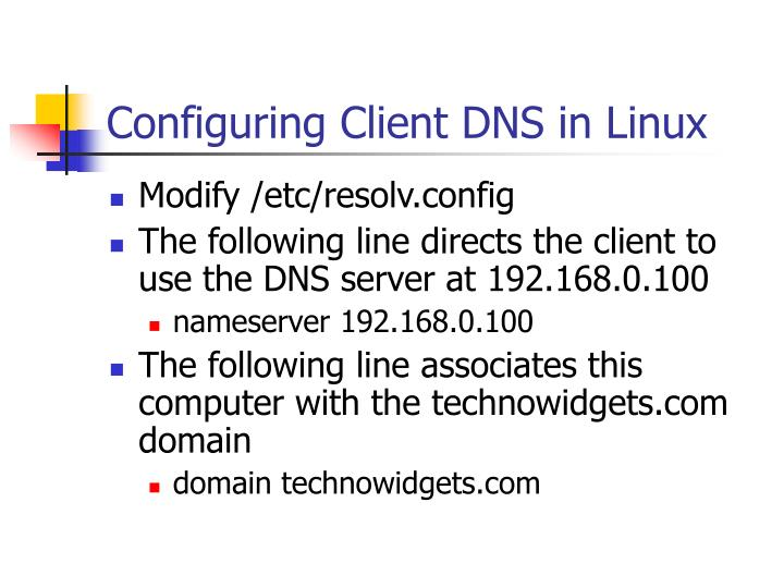 Configuring Client DNS in Linux