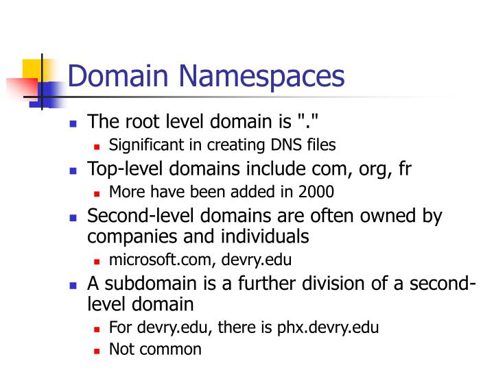 Domain Namespaces
