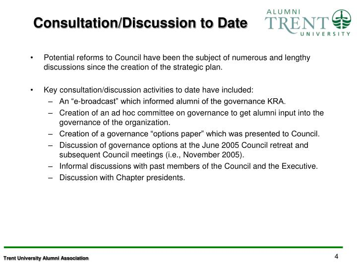 Consultation/Discussion to Date
