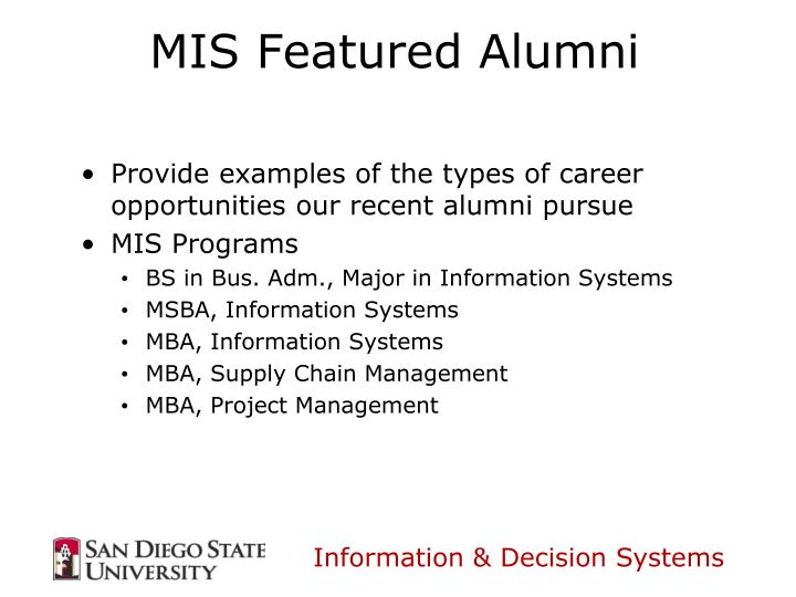 Mis featured alumni