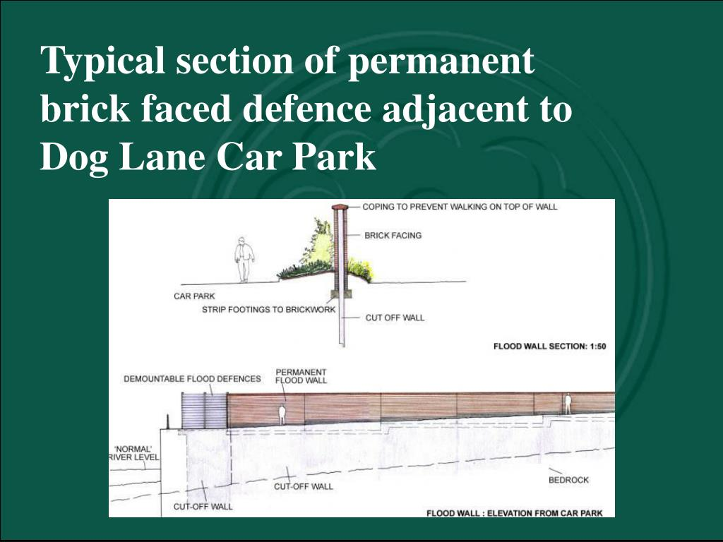 Typical section of permanent brick faced defence adjacent to Dog Lane Car Park
