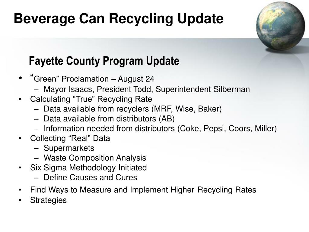 Beverage Can Recycling Update