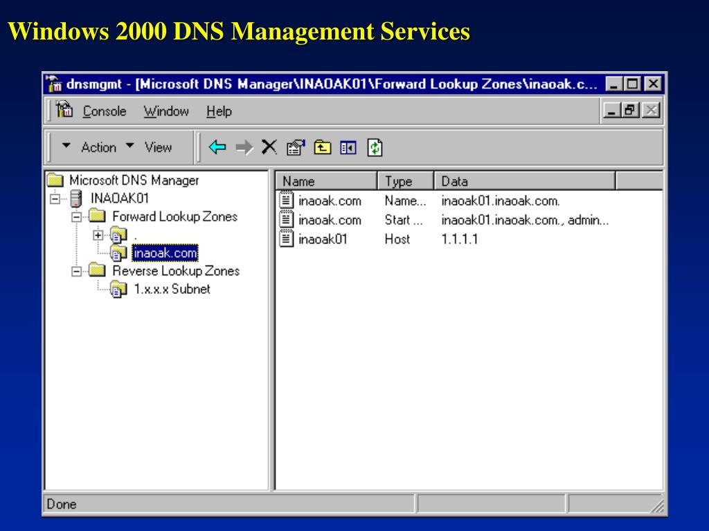 Windows 2000 DNS Management Services