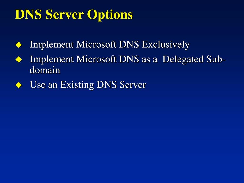 DNS Server Options