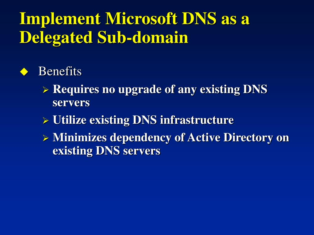 Implement Microsoft DNS as a Delegated Sub-domain