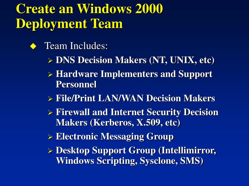 Create an Windows 2000 Deployment Team