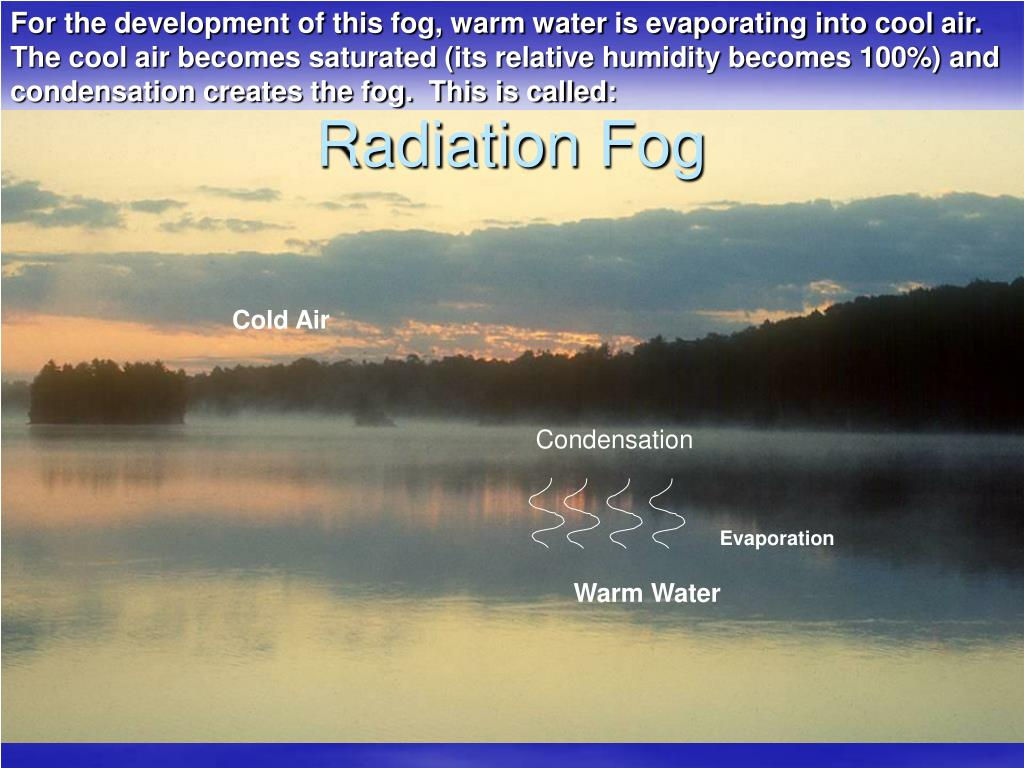 For the development of this fog, warm water is evaporating into cool air.  The cool air becomes saturated (its relative humidity becomes 100%) and condensation creates the fog.  This is called: