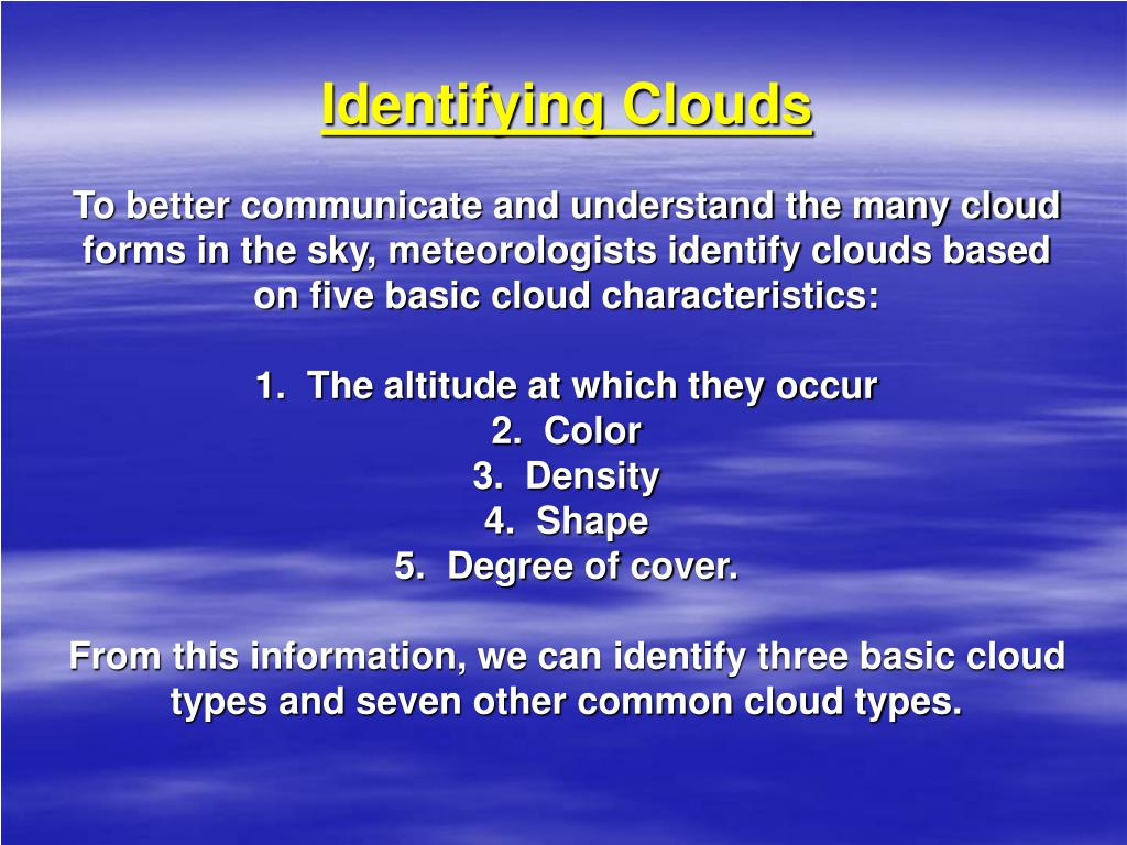 Identifying Clouds
