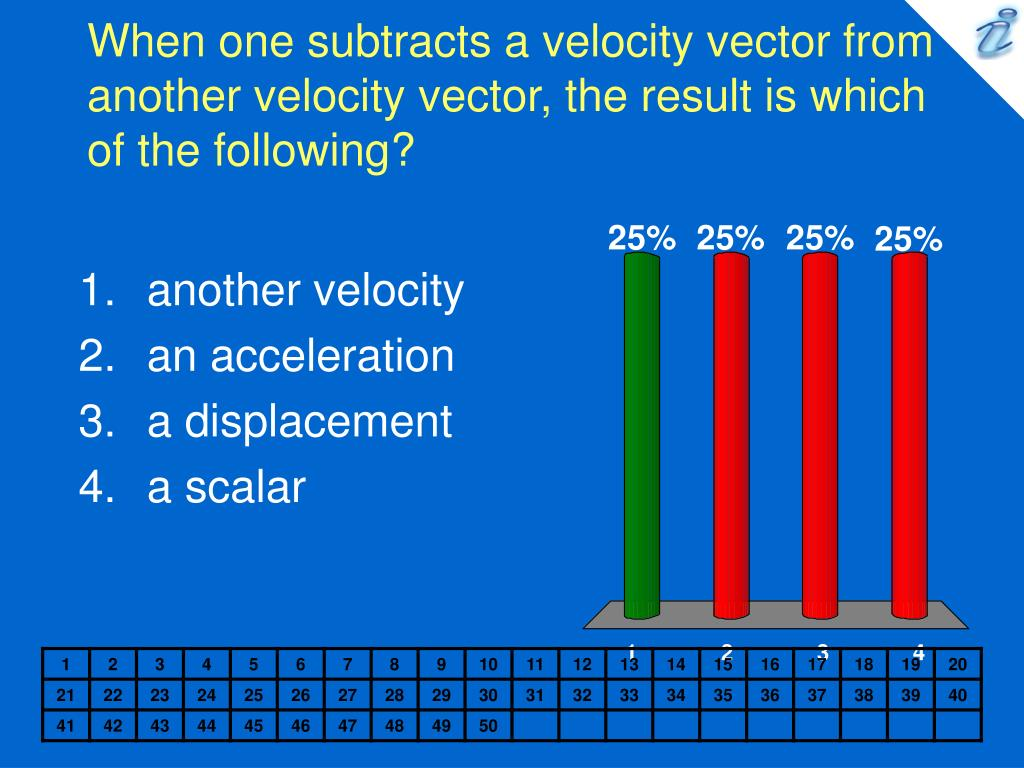 When one subtracts a velocity vector from another velocity vector, the result is which of the following?