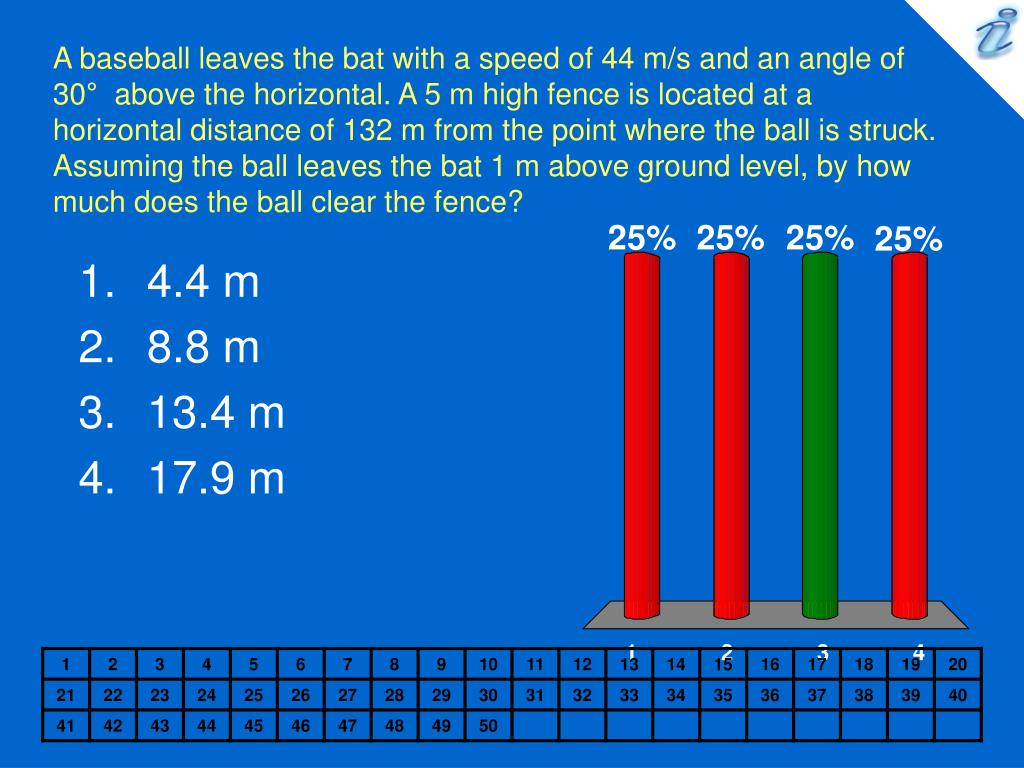 A baseball leaves the bat with a speed of 44 m/s and an angle of 30