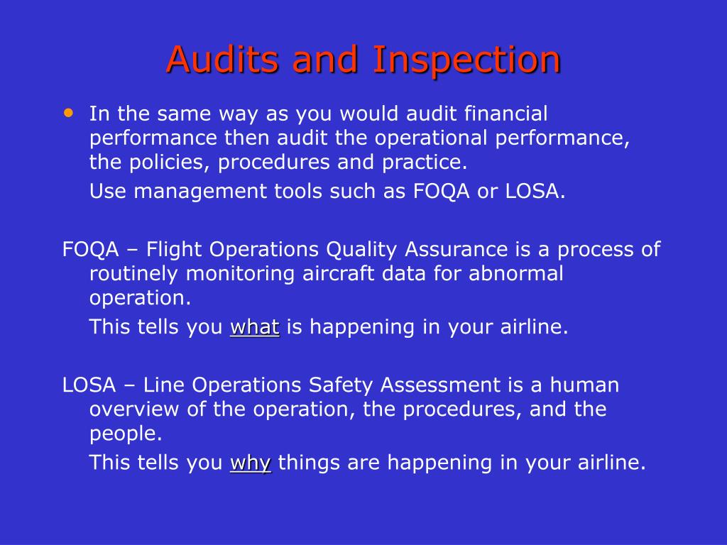 Audits and Inspection