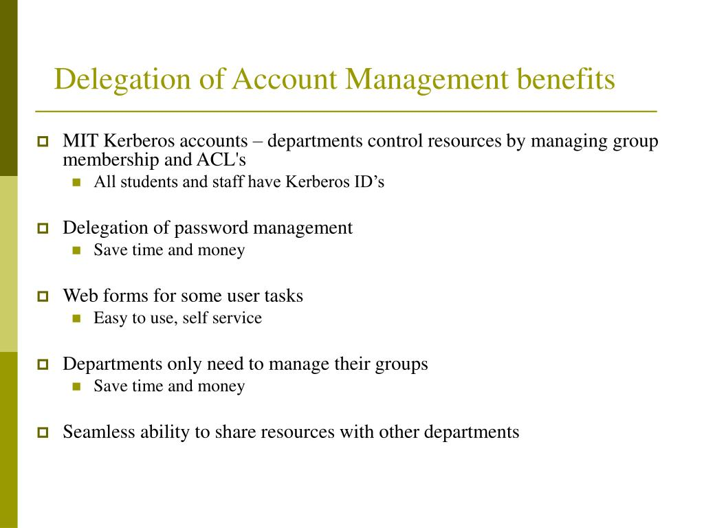 Delegation of Account Management benefits