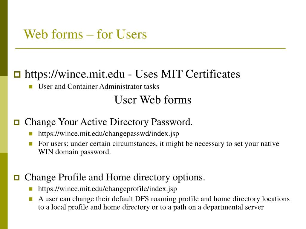 Web forms – for Users