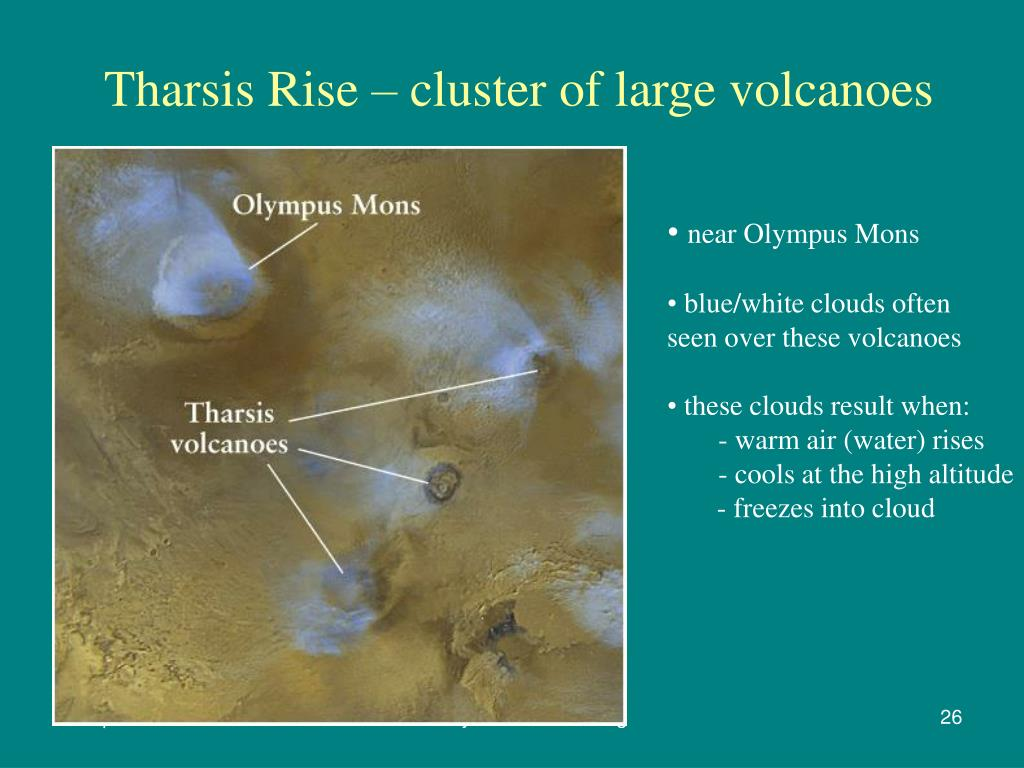 Tharsis Rise – cluster of large volcanoes