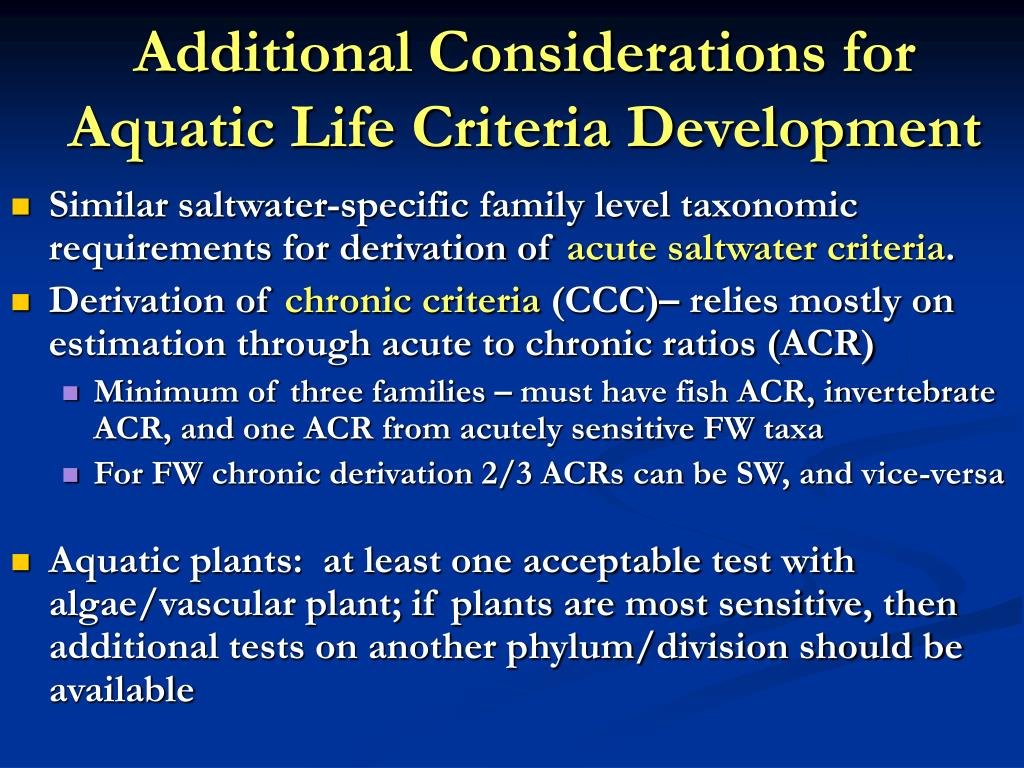 Additional Considerations for Aquatic Life Criteria Development