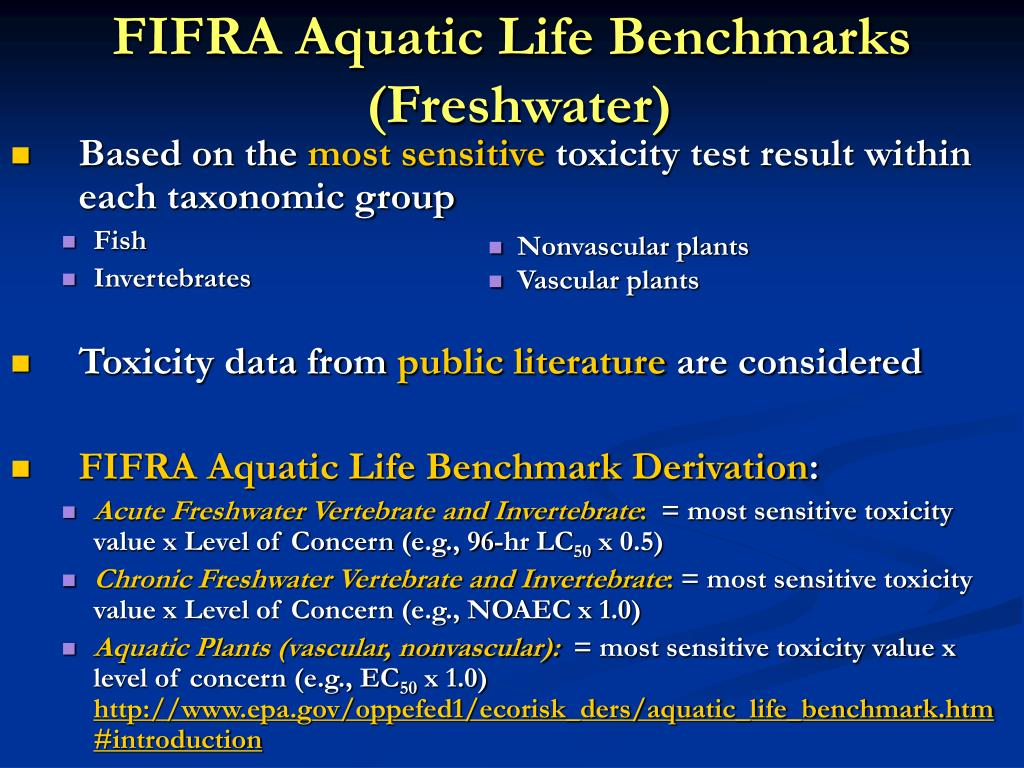 FIFRA Aquatic Life Benchmarks