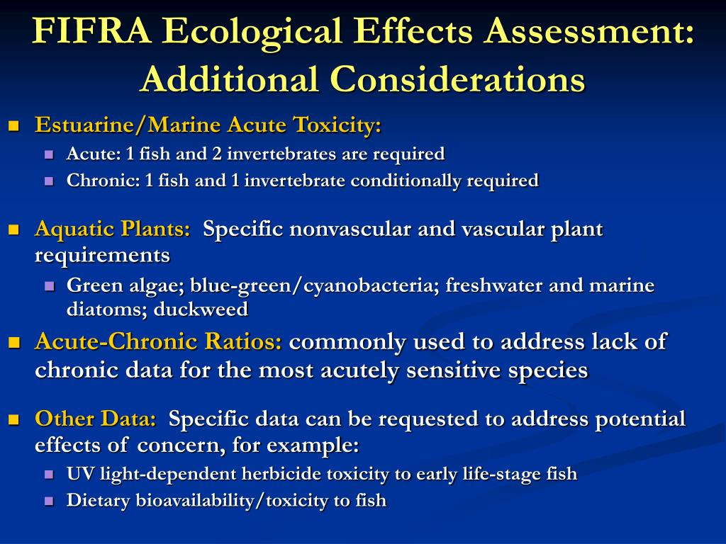 FIFRA Ecological Effects Assessment: