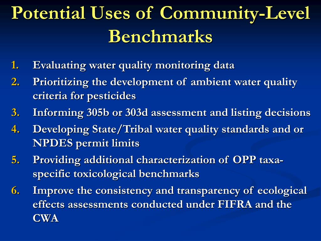 Potential Uses of Community-Level Benchmarks