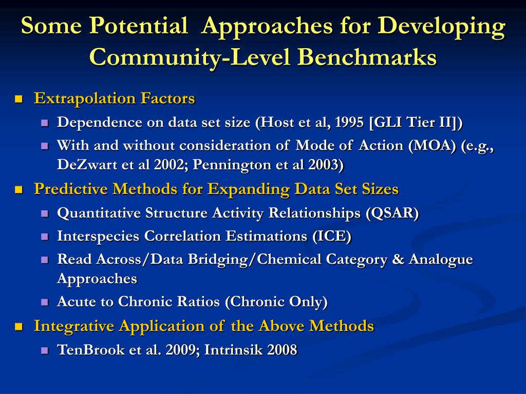 Some Potential  Approaches for Developing Community-Level Benchmarks