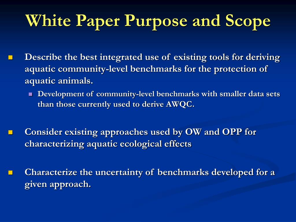 White Paper Purpose and Scope
