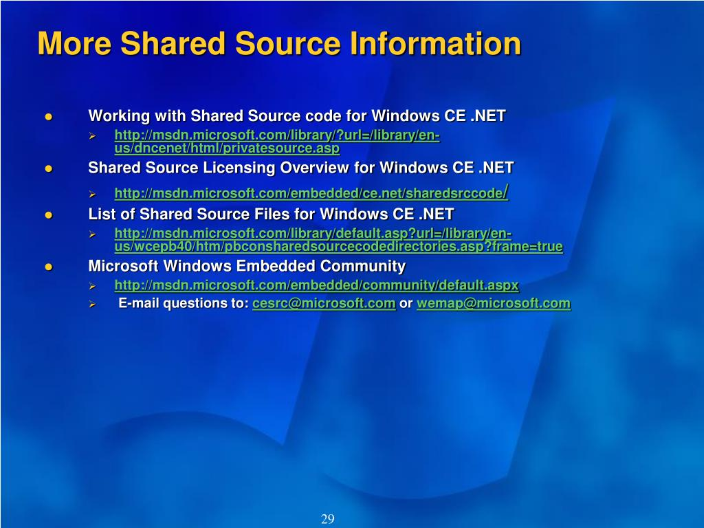 More Shared Source Information