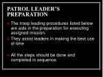 patrol leader s preparation