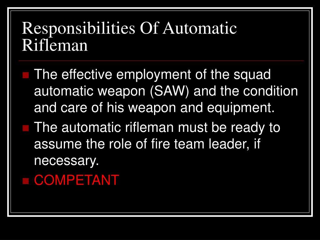 Responsibilities Of Automatic Rifleman