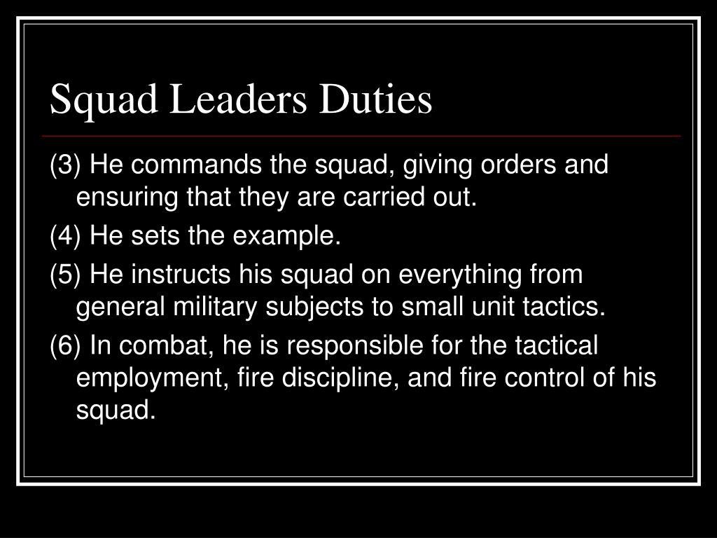 Squad Leaders Duties