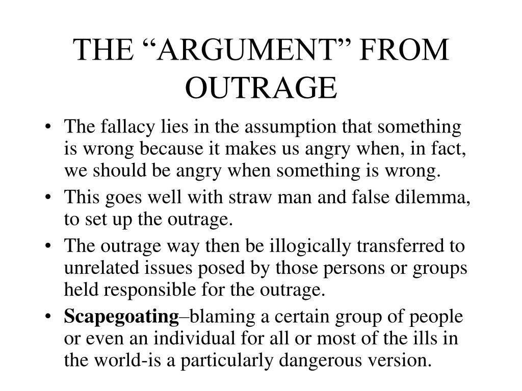 """THE """"ARGUMENT"""" FROM OUTRAGE"""