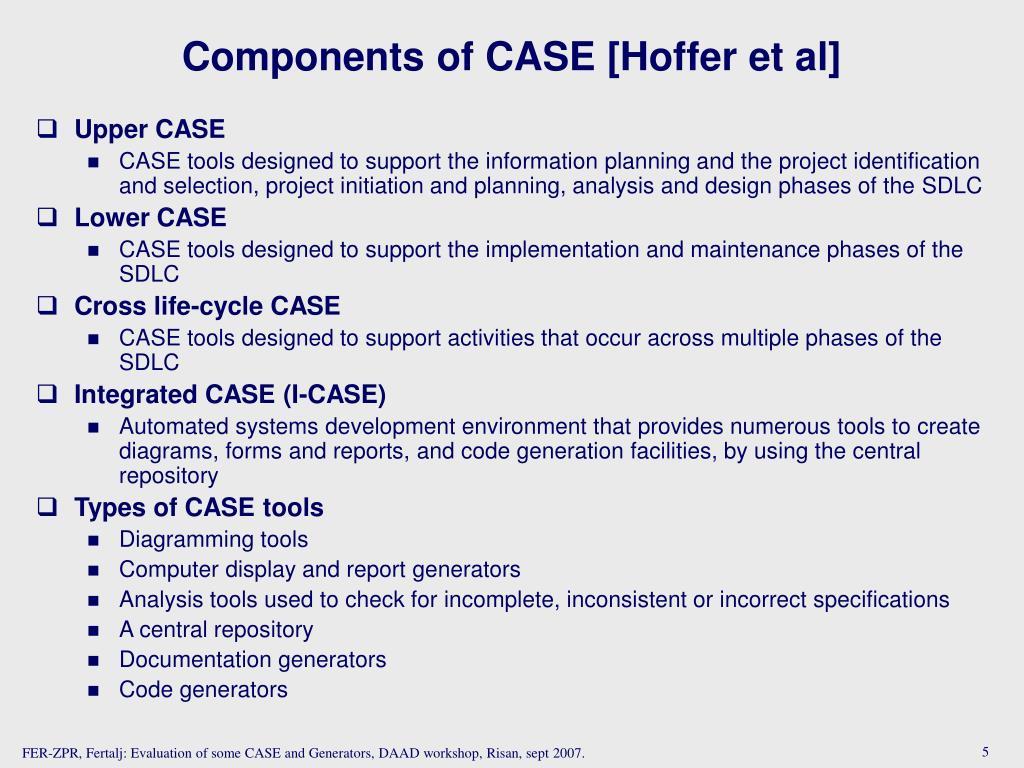 Components of CASE [Hoffer et al]