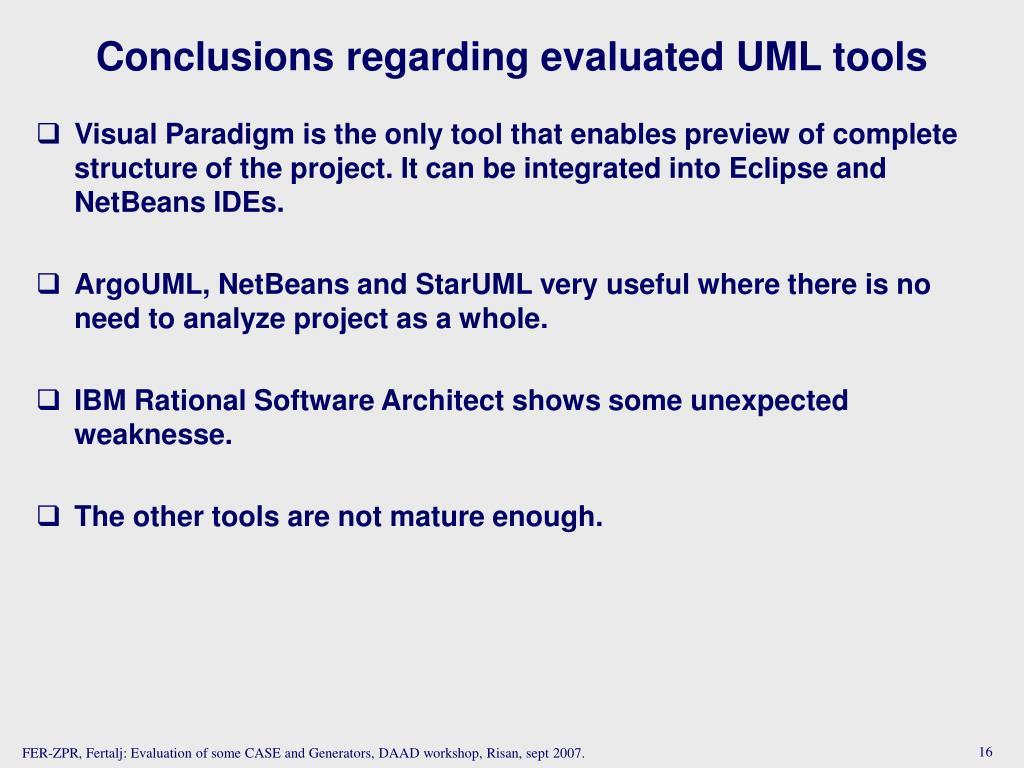 Conclusions regarding evaluated UML tools