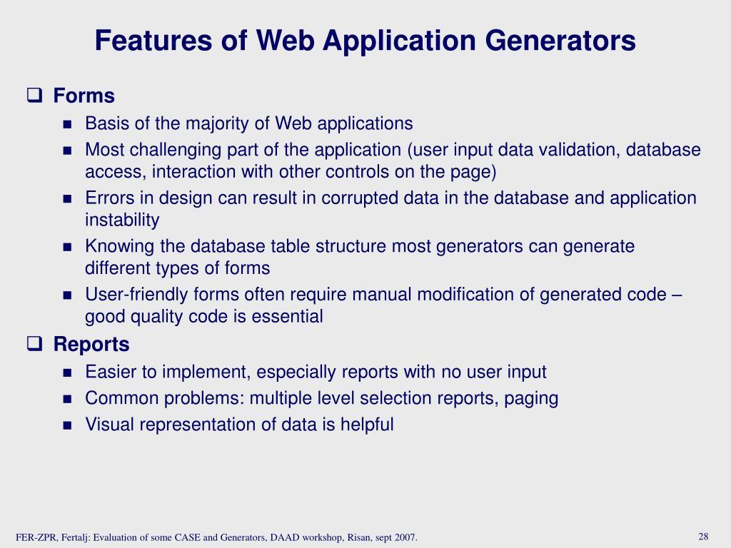 Features of Web Application Generators