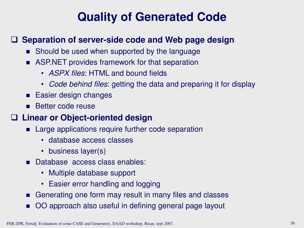 Quality of Generated Code