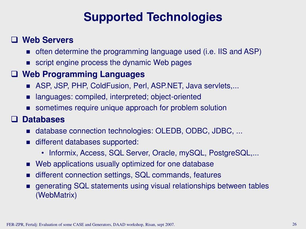 Supported Technologies