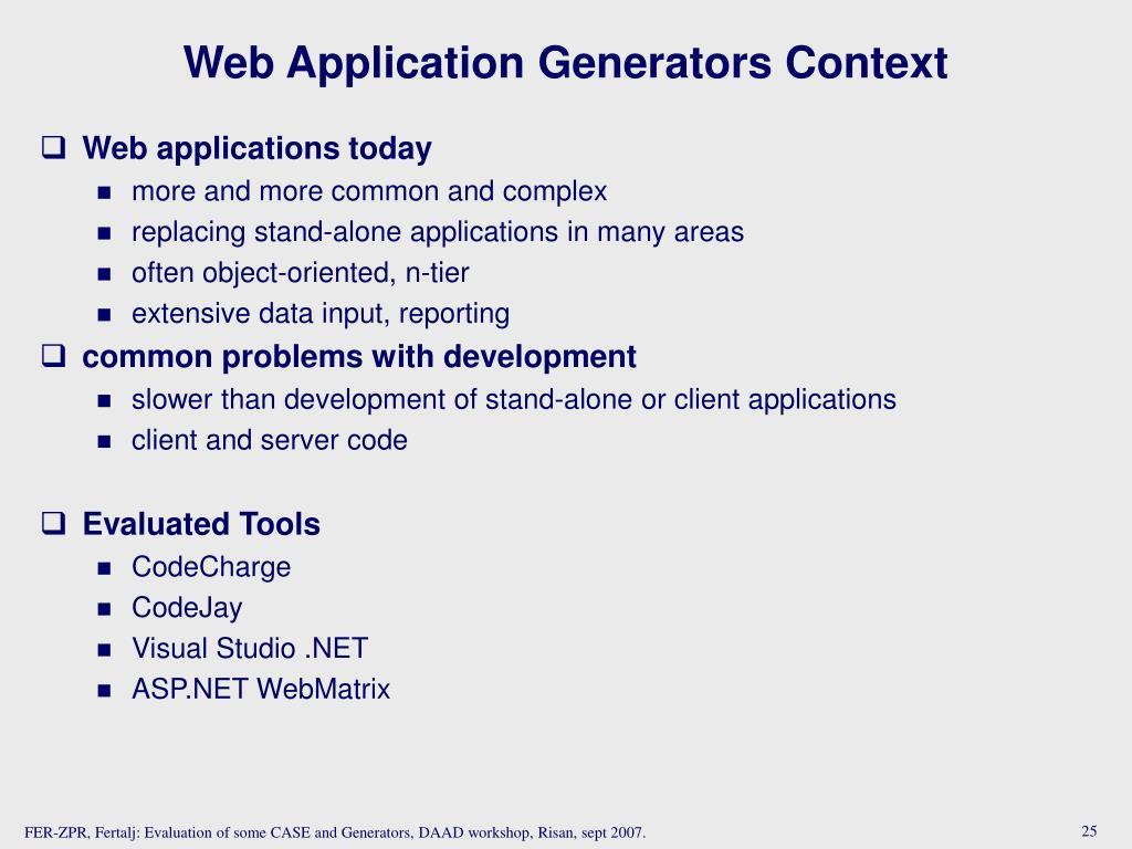 Web Application Generators Context