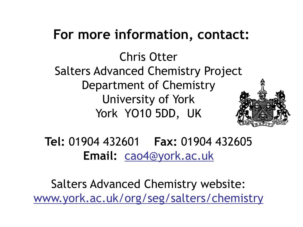 ocr salters chemistry coursework mark scheme