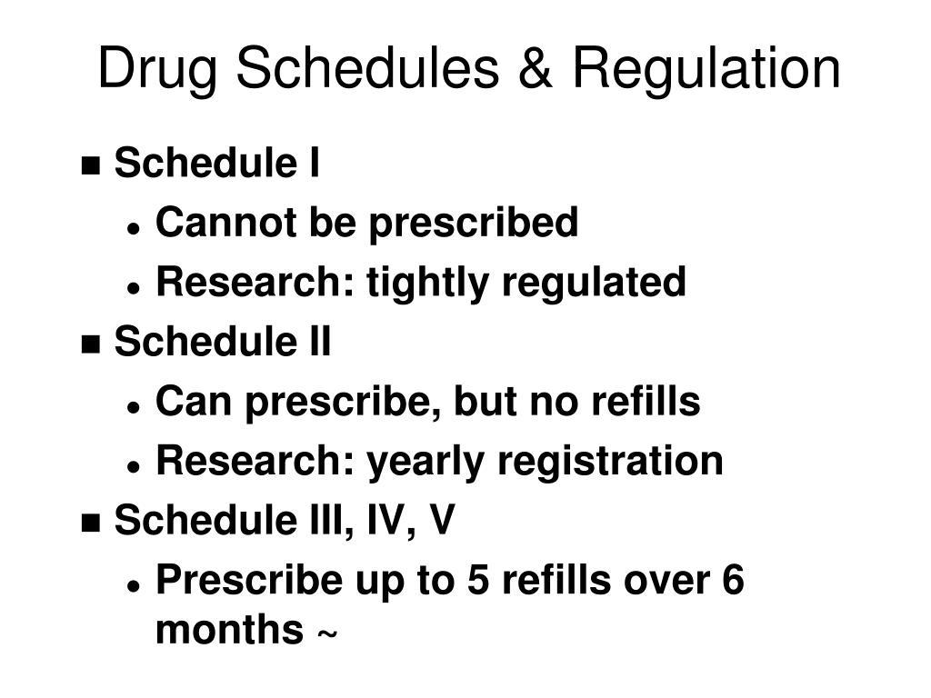 Drug Schedules & Regulation
